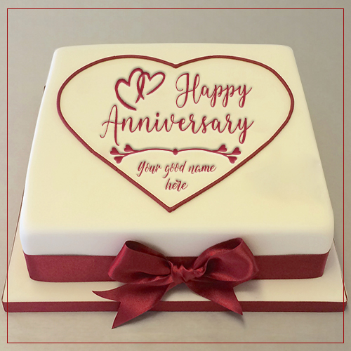 Write Name On Double Heart Anniversary Cake