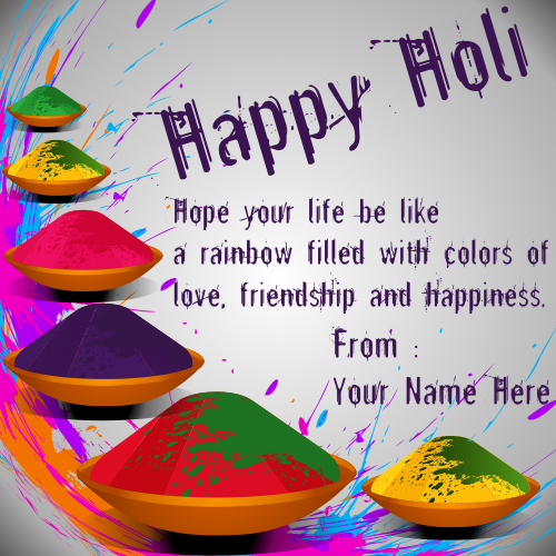 Write Name On Happy Holi Greeting Card