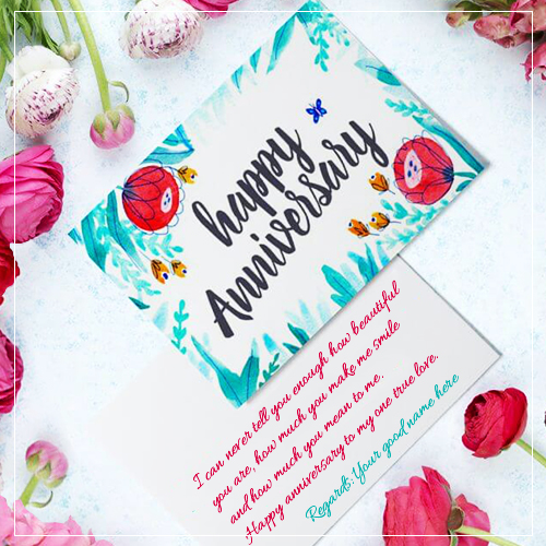Flower Anniversary Wishes Card With Couple Name