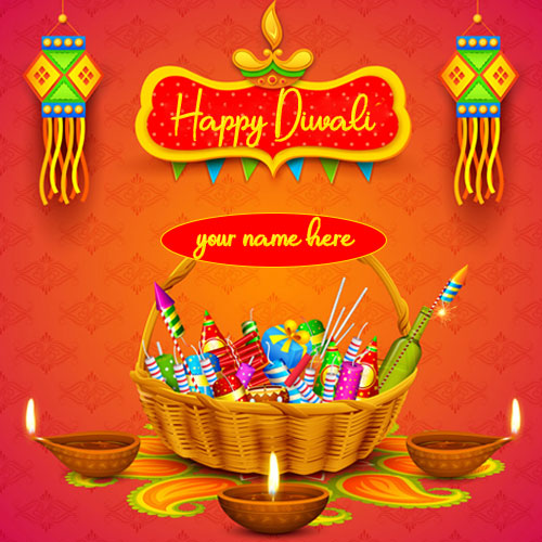 Happy Diwali Crackers Wishes And Greetings Images With Name