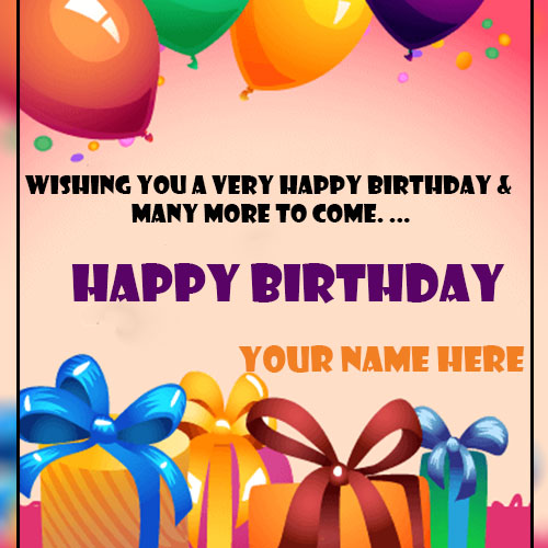 Happy Birthday Greetings Card With Name Edit
