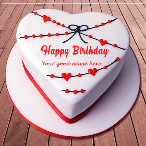 Write Name On Birthday Heart Cake