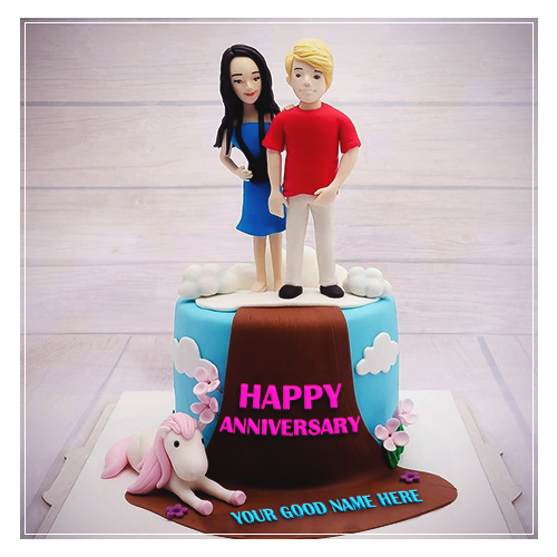 Write Name On Couple Anniversary Cake