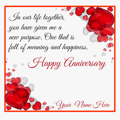 Marriage Anniversary Wishes Card With Couple Name