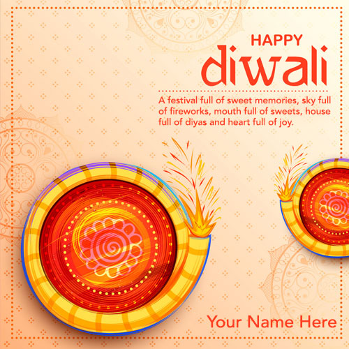 Write Name On Diwali Wishes Quotes Greetings Card