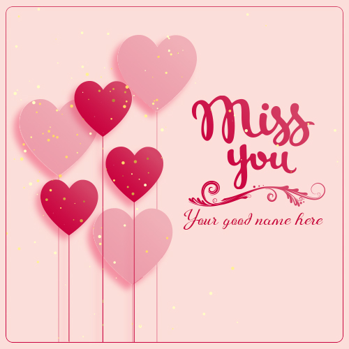 Write Name On Miss You Heart Images