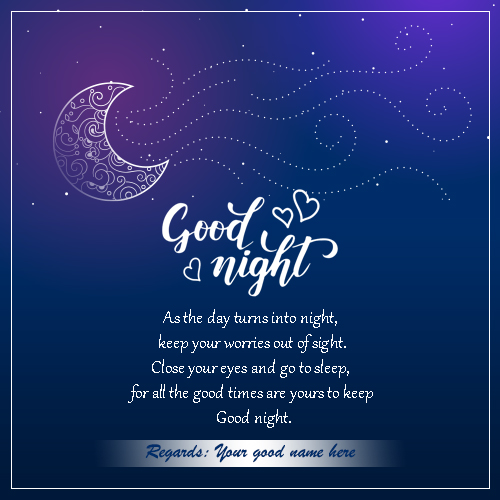 Good Night Wishes Greetings Card Picture With Name