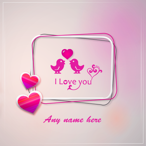 Write Name On Romantic Heart I Love You Whatsapp DP