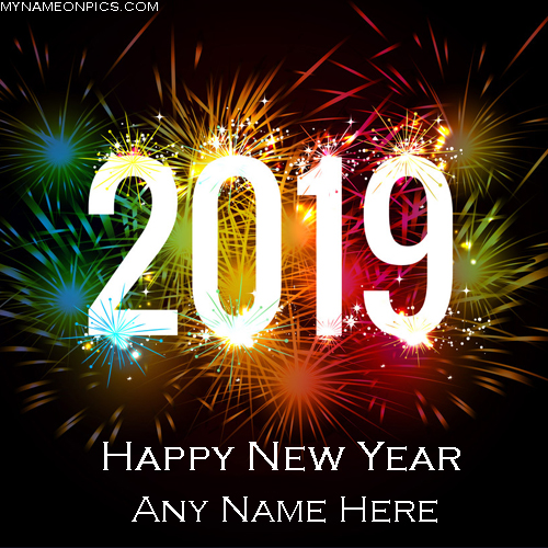 Happy New Year 2019 Greetings Card With Name