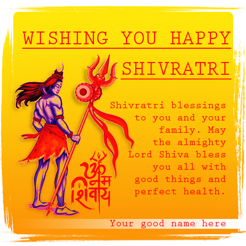 Wishing You Happy Shivratri Greeting Card Pics With Name
