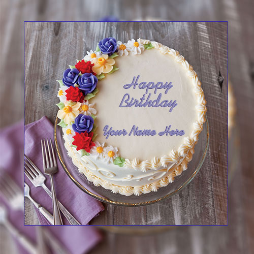 Colourful Birthday Cake With Name and Photo