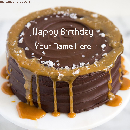 Caramel Chocolate Birthday Cake Images With Name For Friend