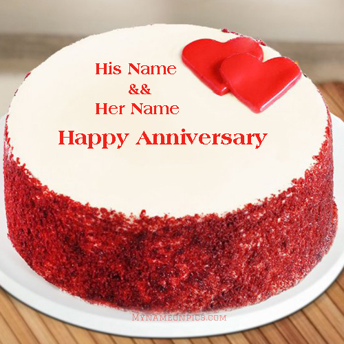 Anniversary Cake Red Velvet Little Heart With Name