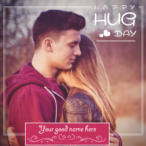Write Name On Happy Hug Day Couple Image