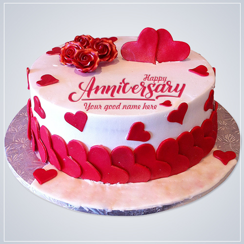 Rose Anniversary Cake With Name Edit