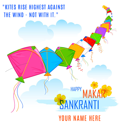 Create Makar Sankranti Wishes Name Picture Online