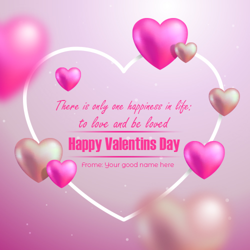 Write Name on Happy Valentine Day Wishes Quote Greeting Card