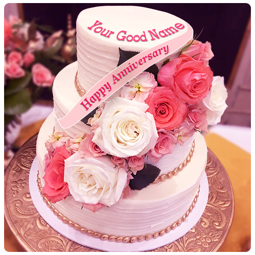 Flower Wedding Anniversary Cake With Name