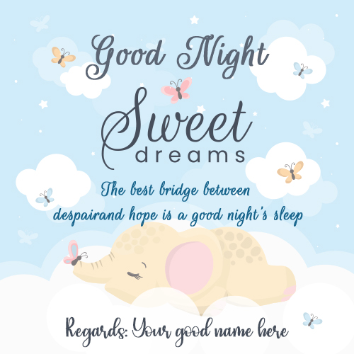 Good Night Sweet Dreams Greetings Card With Name