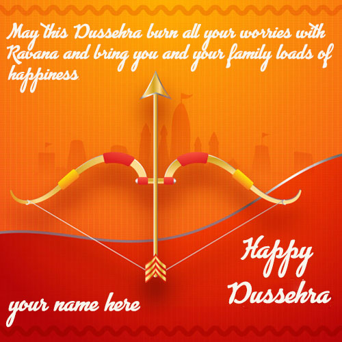 Happy Dussehra Greeting Quotes Wishes Card Images With Name