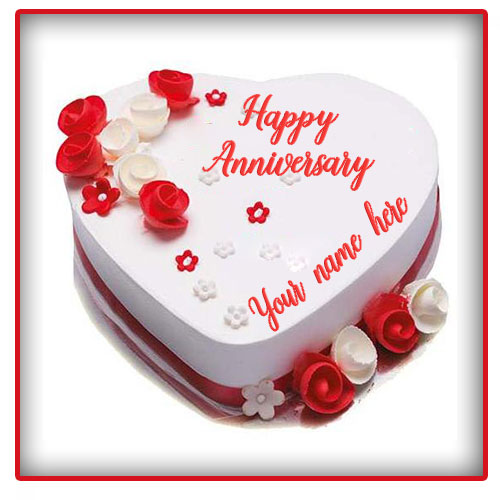 Happy Red Rose Anniversary Cake With Name