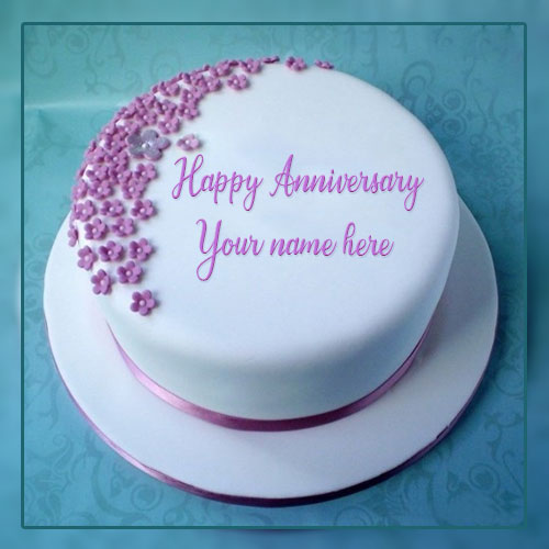 Happy Anniversary Wishes White Cake With Name Edit