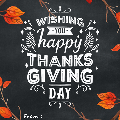 Thanksgiving Day Greeting Cards With Name