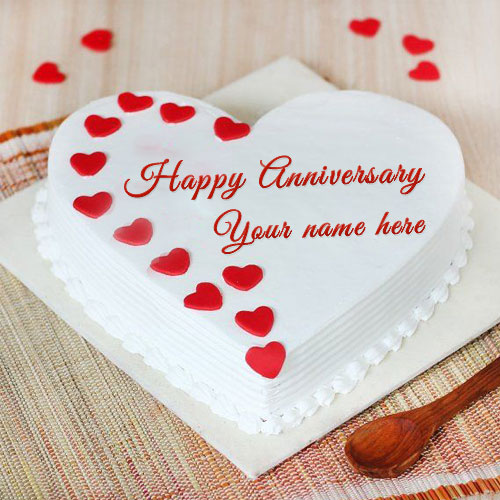Red Heart Wedding Anniversary Cake With Name and Photo