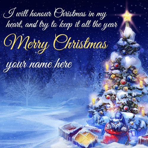 Merry Christmas Wishes Quotes Image With Name