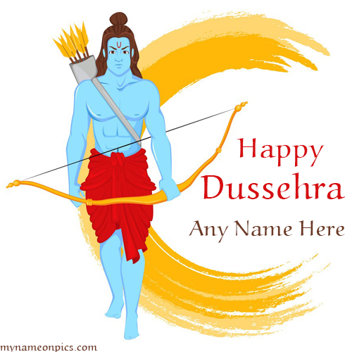 Write Name On Happy Dussehra (Dasara) Greeting Card
