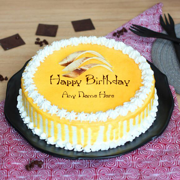 Write Name On Birthday Butterscotch Cake Pics