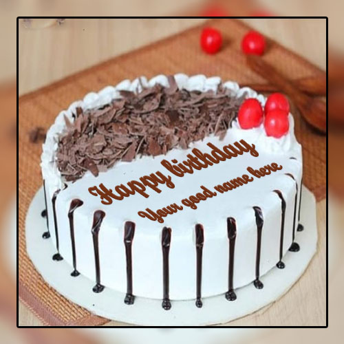 Write Name On Vanilla Happy Birthday Cake With Chocolate Flavor