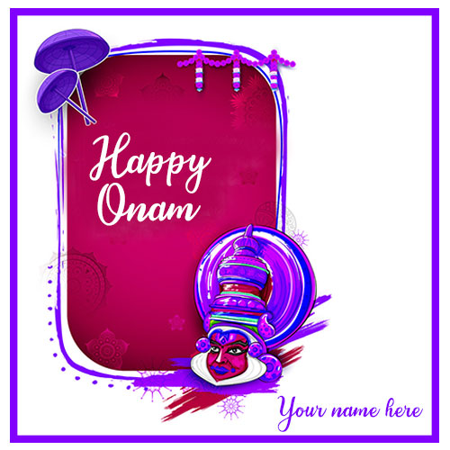 Happy Onam Wishes Card With Name and Photo Edit