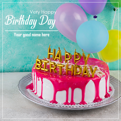 Happy Birthday Cake With Colorful Balloons With Name