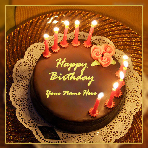 Happy Birthday Candle Cake With Name and Photo Edit