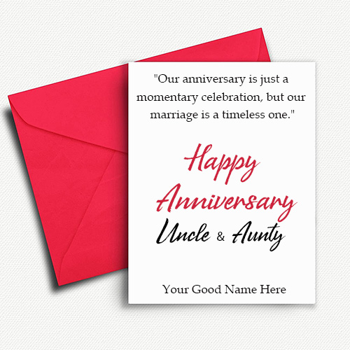 Write Name On Happy Anniversary Uncle and Aunty Wishes Images