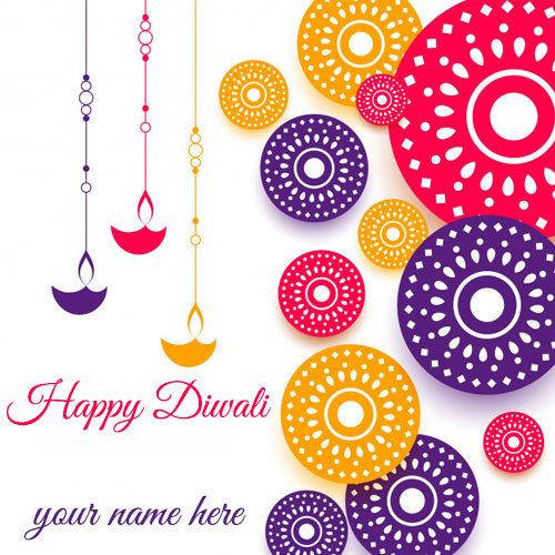 Beautiful Happy Diwali 2020 Wishes Card With Name