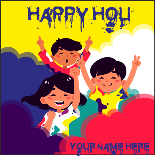 Write Name On Happy Holi Cartoon Image