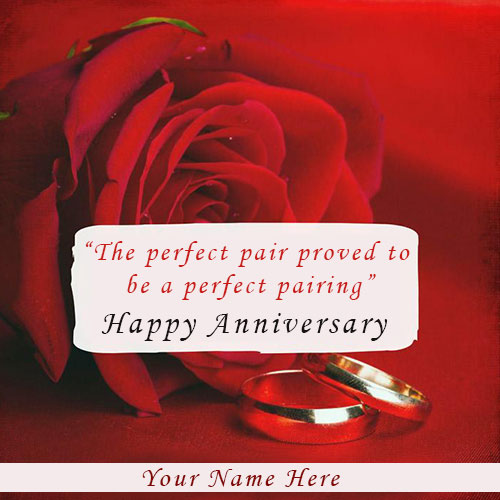 Happy Anniversary Sweet Red Rose Card With Name