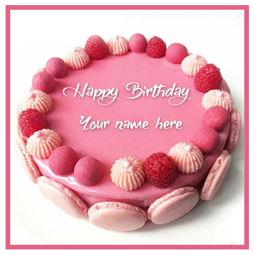 Write Name On Pink Birthday Cake Image With Name Edit