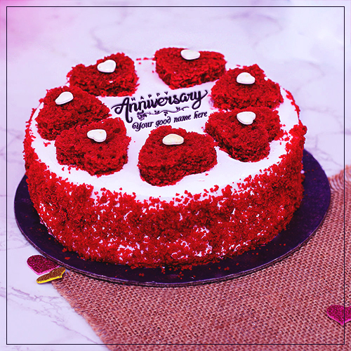 Happy Anniversary Red Rose Shaped Cake Images With Name