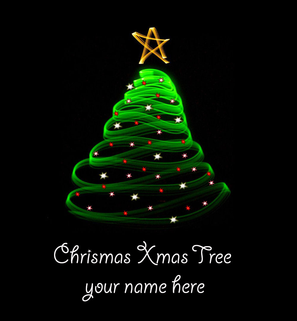 Write Name On Christmas Tree 2019 Greeting Card
