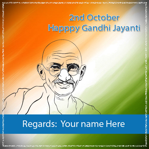 Happy Gandhi Jayanti Images With Name Edit