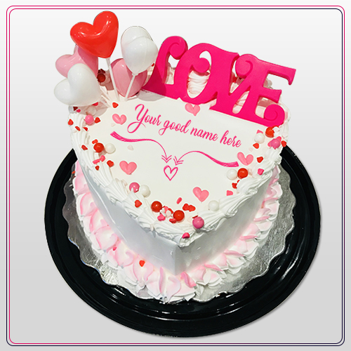 Write Name On Love Heart Cake Images