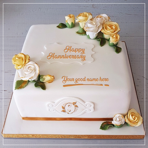 Write Name On Golden Wedding Rose Cake Image