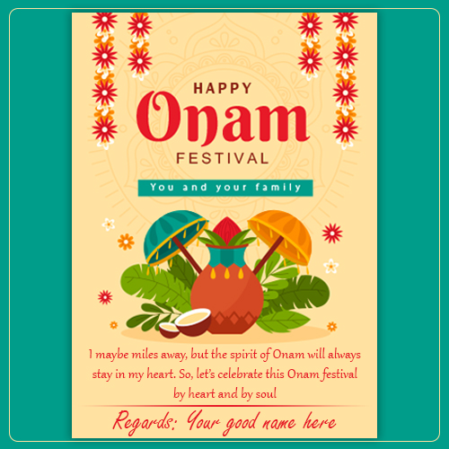 Happy Onam Festival Wishes Greetings Card With Name
