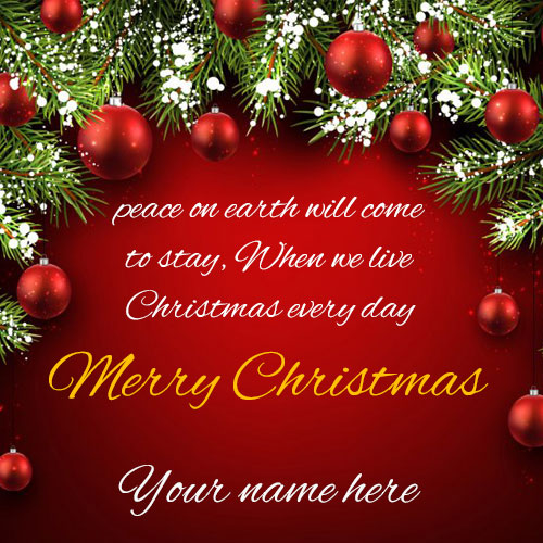 Beautiful Merry Christmas Wishes Picture With Name
