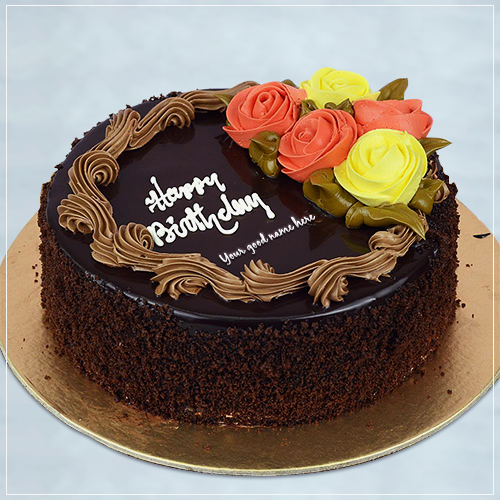 Beautiful Rose Flower Chocolate Birthday Cake Pics With Name