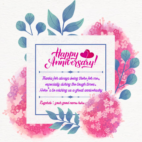 Happy Anniversary Greetings Card With Name