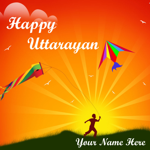 Happy Uttarayan Wishes Kite Image With Name